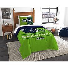 2 Piece NFL Seattle Seahawks Comforter Set Twin Size, National Football League Themed, Dorm Sports Fan Bedding Draft Team Logo Printed, College Unisex Sport Fans Bedroom, Blue, Green, White