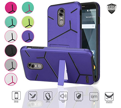 LG Stylo 3 Case, LG Stylo 3 Plus Case, Slim Hybrid with [kickstand] Shockproof Dual layer Protective Unique Lined Design Case Cover (Purple/Black)