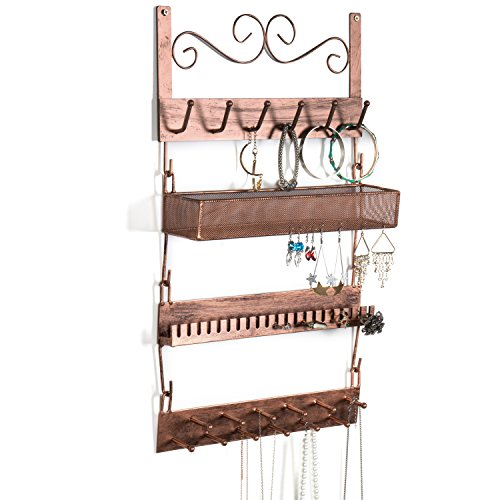 MyGift Bronze Metal Wall-Mounted 4-Tier Jewelry Rack, 18 Hook Earrings, Rings, Necklaces, Bracelets Organizer