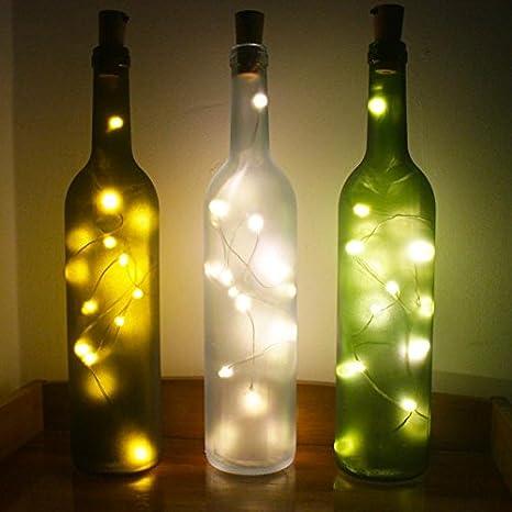 De botellas de vino de luces con corcho, batería Alimentado por ...