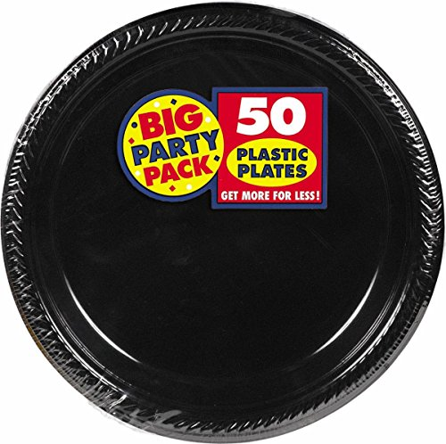 Amscan Big Party Pack 50 Count Plastic Lunch Plates, 10.5-Inch, Black Fun Lunch Plates