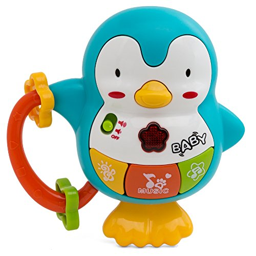 Penguin Shaped Baby Musical Rattle And Infant Sounds Take Along Motion Sensor Activity Deployment Toy For Your Stroller And Car (Penguin Diaper Bag)