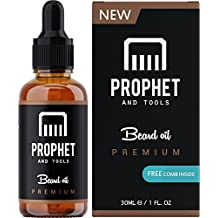 SUPER SALE! Prophet and Tools Beard Oil and Beard Comb Kit! FREE Beard Care Ebook Included - Unscented Leave-in Conditioner, Softener, and Beard Growth - 0% Alcohol, Vegan and Nuts-Free - All Organic Vitamin E