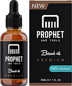 Prophet and Tools Unscented Beard Oil and Comb Gift Kit FOR MEN! The All-In-One Conditioner, Softener, Shine and Faster Beard Growth - No Alcohol, Vegan and Nuts-Free!