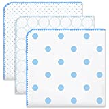 SwaddleDesigns Ultimate Swaddle Blankets, Set of 3, Mod Circles and Dots, Blue (Mom's Choice Award Winner)