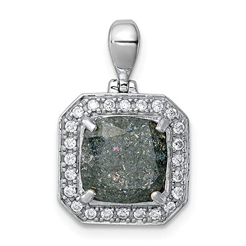 Jewelry Pendants & Charms Fancy Sterling Silver Rhodium-plated Square Gray Ice CZ Pendant