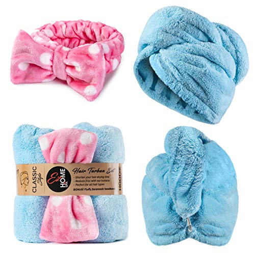 - Premium 2Pack Microfiber Hair Towel Wrap, Ultra Absorbent and Anti Frizz for Quick Hair Drying for Women & Kids with Curly or Long Hair