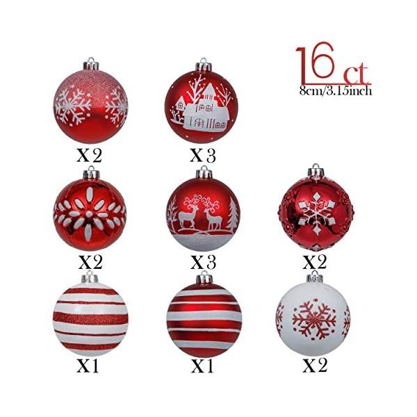 Valery Madelyn Palle di Natale 16 Pezzi 8cm Palline di Natale, Tradizionali Ornamenti di Palle di Natale Infrangibili Rossi e Bianchi per la Decorazione Dell'Albero di Natale 3 spesavip
