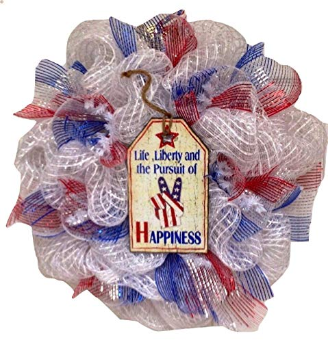 Patriotic Wreath Life Liberty and the Pursuit of Happiness Handmade Deco Mesh 20 inches from What A Mesh by Diana