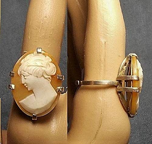 Size 7  Only 99. Esplain Ring Signed B 1 50s Sterling Cameo Ring with 1920s Hand Carved Shell Cameo with 20s Waved Hairdo /& Flowing Gown