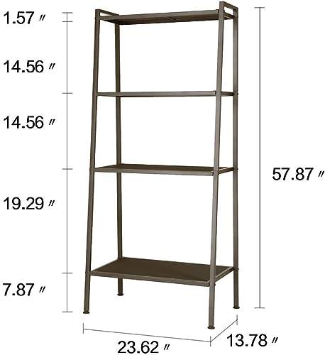 Teeker Multifunctional 4 Tiers Ladder Shelf, Vintage Bookshelf,Plant Stand Storage Rack Shelf for Office, Bathroom, Living Room Black