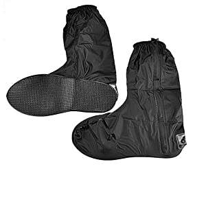 Astra Depot Pair Waterproof Springtime Summer Rainstorm Rainy Day Rainsuit Raingear Motorcycle Road Bike Cruiser Chopper Driving Biker Gear Boot Shoe Cover with Side Zipper Black Adult Mens US 10-11 (Euro 44-45)