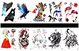 GGSELL GGSELL 10pcs tattoo eagle temporary tattoos in one packages,including eagle,giraffe,horse,elephant,crane,beautiful lady,wolf,etc.