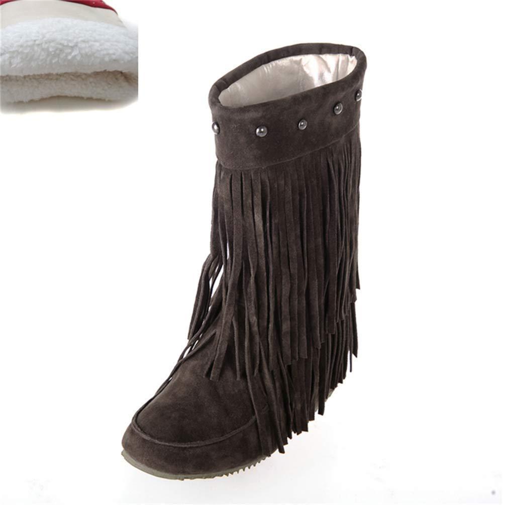 HhGold Damen Slip On Stiefel Bequeme Mitte der Wade mit Niet Winter Warme Schuhe für Fashioon Street Girls Outdoor (Farbe   braun Plush Größe   7.5 UK)