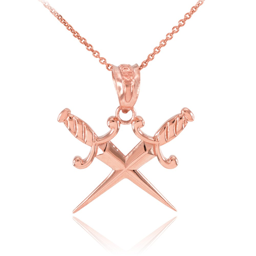 Polished 14k Rose Gold Crossing Daggers Charm Pendant Necklace