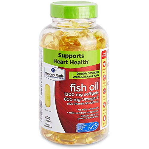 Member's Mark Enteric Double Strength Fish Oil 1200mg Softgels 600mg Omega-3 EPA DHA Plus Vitamin D3 2000 Iu (1 Bottle (200 softgels))