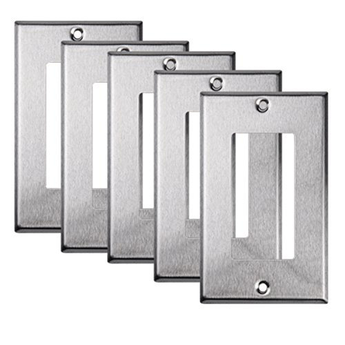 TOPELE 1-Gang Decora/GFCI Rocker Wall Plate, Stainless Steel, Cover Plate for Home Decor Commercial Place, Standard Size (Pack of 5)