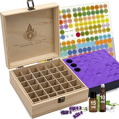 Essential Oil Box - 36 Slots. Fits Tall Roller Bottles. Natural Pine, Wooden Storage Case. Free EO Labels & Foam Pad. Best for 5ml 10ml and 15ml Drams