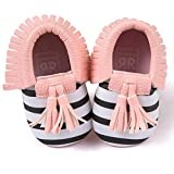 Cheap Baby Cribs Voberry Infant Toddlers Baby Boys Girls Soft Soled Tassel Crib Shoes PU Moccasins (12~18 Month, Pink stripe)