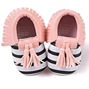 Voberry Infant Toddlers Baby Boys Girls Soft Soled Tassel Crib Shoes PU Moccasins (0~6 Month, Pink stripe)