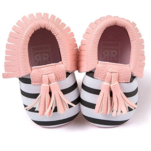 Voberry Infant Toddlers Baby Boys Girls Soft Soled Tassel Crib Shoes PU Moccasins (12~18 Month, Pink stripe)