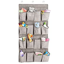 mDesign Over the Door Nursery Storage Organizer - 16 Pockets, Linen