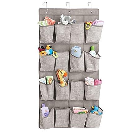 MDesign Soft Fabric Over The Door Hanging Storage Organizer 16 Deep Pockets  Child/Baby Room