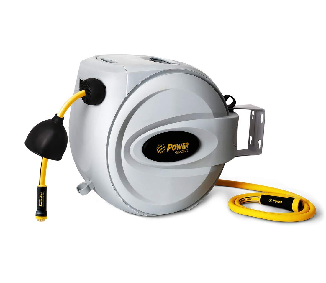 """Power Retractable Hose Reel 5/8"""" x 50 + 6 FT, Super Heavy Duty, 500 PSI Burst Strength, 3 Layer Hybrid Hose, Slow Return System, Exclusive Twist Collar and The Patented Nozzle Protector"""