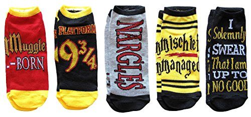 Harry Potter Mischief Managed Marauders Map 5 Pack Ankle Socks (Adult, Muggle Born) -
