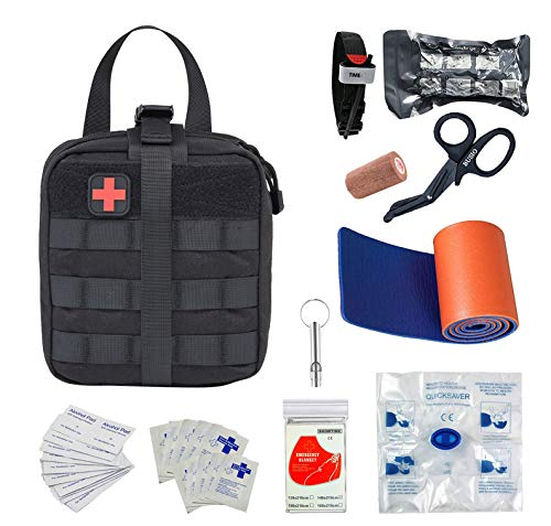 BUSIO First aid Kit-Tactical Bag, EMT Scissor,Tourniquet,Splint Roll,Adhering Stick,Israeli Bandage,Emergency Mylar Blanket,CPR Mask,Survival Whistle