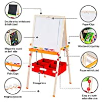 Teamson Kids - Little Artist Vangogh Art Kids Easels Double-Sided Whiteboard & Chalkboard with Paint Cups Paper Roll & Clip Wooden Adjustable Standing for Kids Boys Girls Toddler Wood/Red