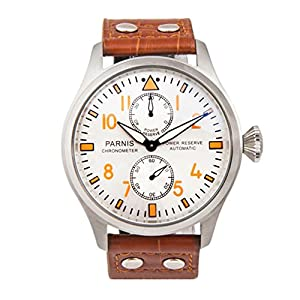 Whatswatch 47MM Parnis automatic power-reserve big pilot mens watch PA-011115
