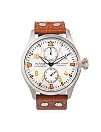 WhatsWatch Parnis watch 47mm white dial brown leather strap power reserve ST2542 Automatic Self-Wind movement Men's watch PA-047