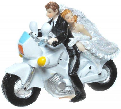 Figur Zierfigur Tortenfigur Motorrad Hochzeit Brautpaar Modern