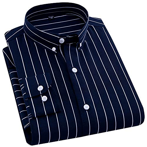 ERZTIAY Men's Classic Casual Vertical Striped Slim Fit Long Sleeve Dress Shirts ()