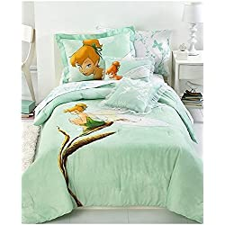 Disney Tinkerbell Tink Watercolor Twin Size Bedding Set - 5pcs Bed in a Bag