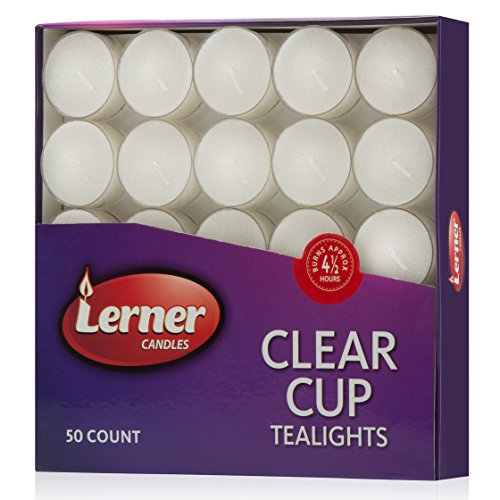 Tea Party Box (Box Of 50 Unscented White Wedding Party Tea Light Candles In Clear Cup Burns Aprox. 4.5 Hour)