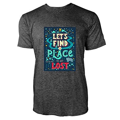 SINUS ART® Let's Find A Place To Get Lost Herren T-Shirts in dunkelgrau Fun Shirt mit tollen Aufdruck