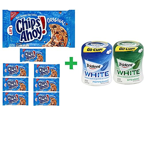 Nabisco Chips Ahoy! Real Chocolate Chip Original Cookies,13 OZ (8 PACK)+ Trident Go Cup Spearmint 1/60 Count + Trident Go Cup Peppermint 1/60 Count(BUNDLE) by Nabisco