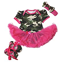 Camouflage Hot Pink Bodysuit Jumpsuit Romper Girl Cloth Baby Dress Shoes Nb-18m (12-18month)