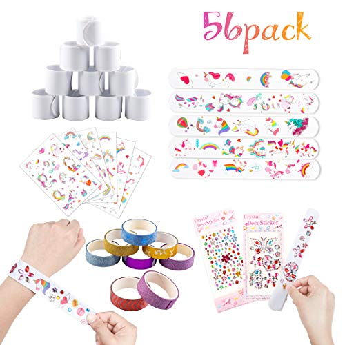 Diy Slap Bracelets (WATINC 56Pcs Slap Bracelets, White Snap Bracelets Band Party Favors for Kids DIY Toys, Painting Pat Ring, Birthday Gifts, School Projects, Art Crafts for Boys Girls, Classroom Prizes for)