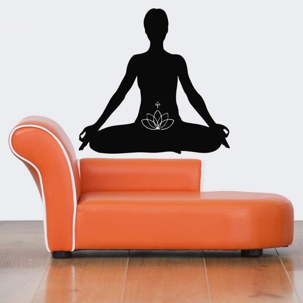 YuanMinglu Decoración de la Pared del hogar Yoga Meditación Etiqueta de la Pared Etiqueta de la Pared extraíble Vinilo Wallpaper Art 38x60CM