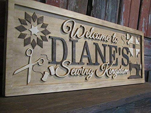 3d Custom Sewing Quilters Room Sign Wooden Carved First Last Name Sign Personalized Family Gift for She Shed Mother Grandma Anniversary Present Made in USA from Lovejoy's