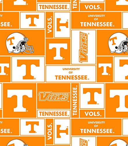 (College University of Tennessee Volunteers Print Fleece Fabric By the Yard )