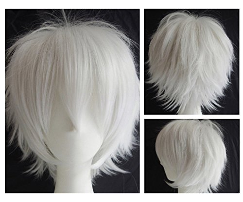 [Anime Cosplay Synthetic Full Wig with Bangs 20 Styles Short Layered Fluffy Hair Oblique Fringe Full Head Unisex for Man and Women Girls Lady Fashion] (Invisible Man Costume Diy)