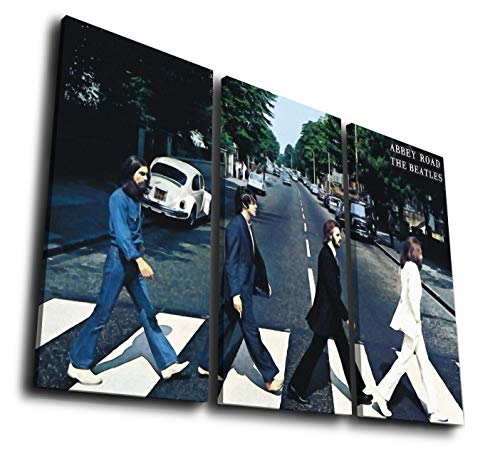 - Mixi Art 3 Pcs The Beatles- Abbey Road Watercolor Effect Painting Printed Canvas Wall Art Picture Home Décor, Contemporary Artwork, Split Canvases (with Framed, Size 2: 12x24inx3pcs.)