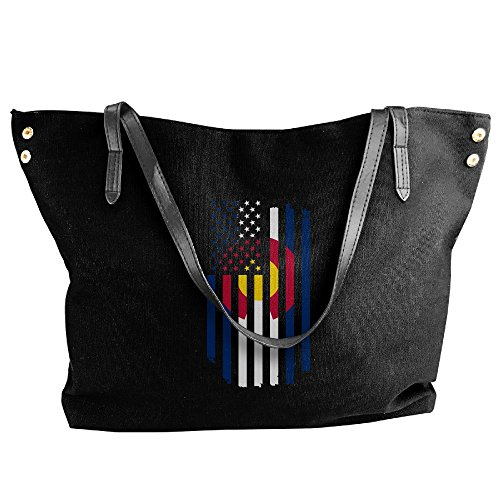 Women's Messenger Bags Flag American Canvas Handbag Shoulder Large Black Tote Colorado ZS4Z7qr8c