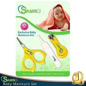 SAMRO Premium Baby Grooming Set - Nail Clippers + Baby's Scissors + Nasal Tweezer - Versatile Unisex Grooming Nursery Set&Healthcare Kit- Manicure Set for Babies,Infants,Toddlers Shower Gift (Yellow)