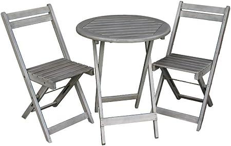 Balkon Möbel Set Bistrotisch Mit 2 Stühlen Balkonmöbel Tisch Und Stühle Klappbar Grau Matt 100 Fsc Akazie Witterungsbeständiges Hartholz