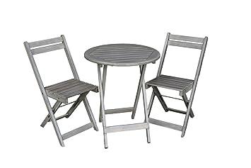 Amazon De Balkon Mobel Set Bistrotisch Mit 2 Stuhlen